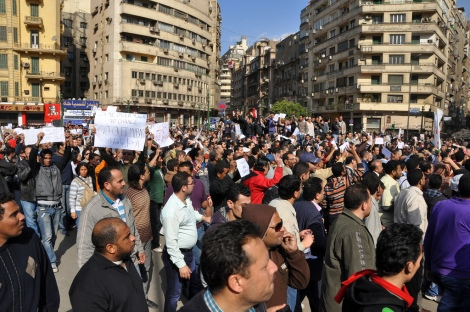 Protest on Tahrir Sqaure, Cairo. 30 January 2011.